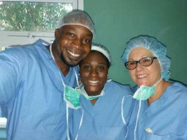 Dr. Coulanges, Rene, and I before we did a c-section